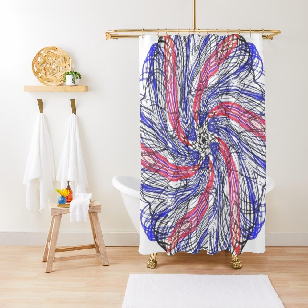 #Illustration, #abstract, #design, #motion, art, pattern, curve, shape, fantasy, decoration, chaos, wave, fractal Shower Curtain