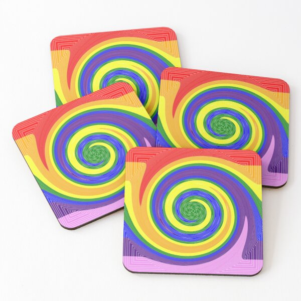 #Design, #vortex, #abstract, #spiral, twirl, illustration, twist, art, pattern, creativity, psychedelic, rainbow Coasters (Set of 4)