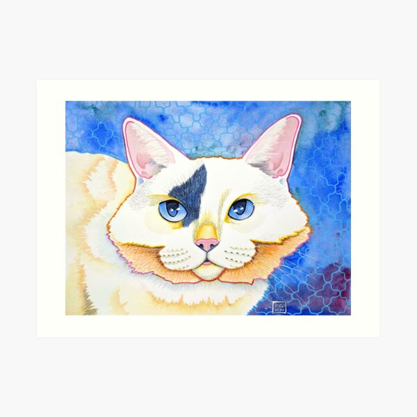 Colorful white cat painting a beautiful pop art style Art Print