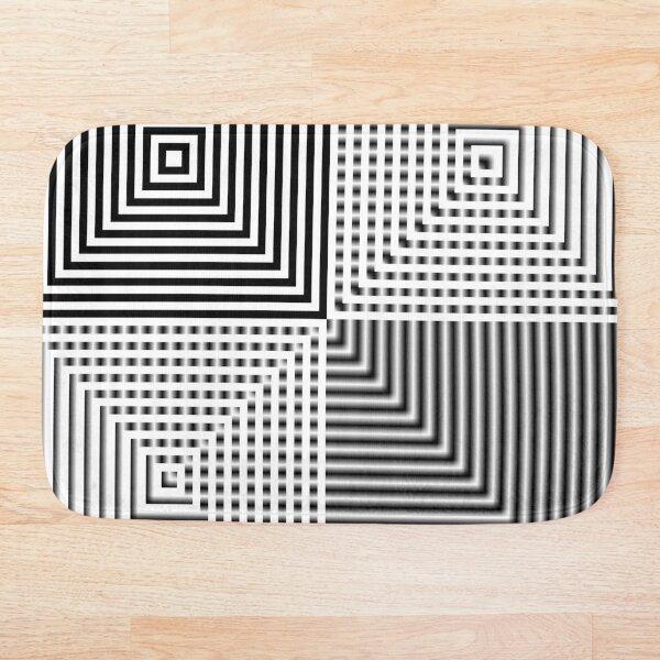 #Abstract, #square, #puzzle, #illustration, shape, art, horizontal, gray Bath Mat