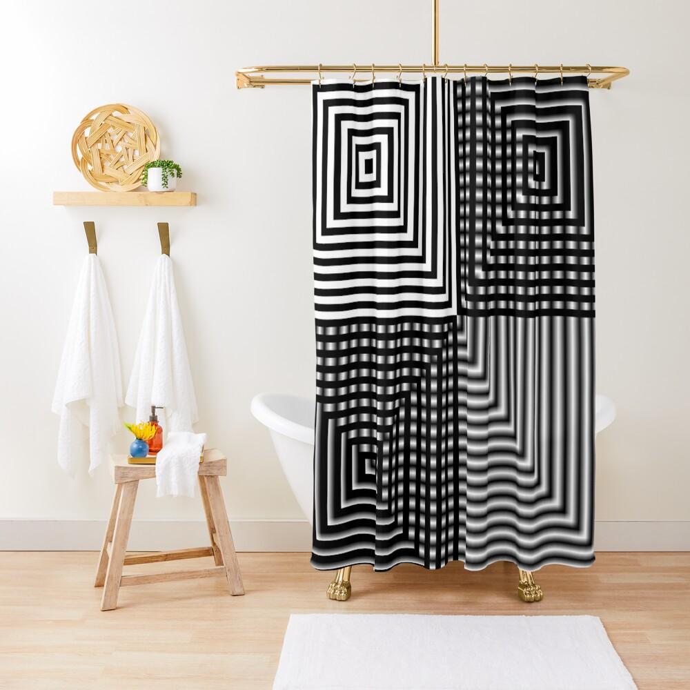 #Illusion, #abstract, #square, #puzzle, illustration, shape, art, horizontal Shower Curtain
