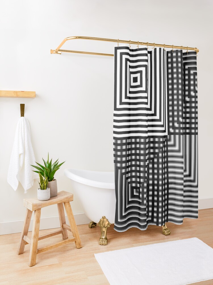 Alternate view of #Illusion, #abstract, #square, #puzzle, illustration, shape, art, horizontal Shower Curtain