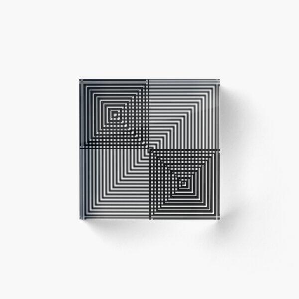 #Pattern, #design, #square, #abstract, illustration, illusion, grid, technology Acrylic Block