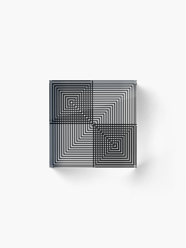 Alternate view of #Pattern, #design, #square, #abstract, illustration, illusion, grid, technology Acrylic Block