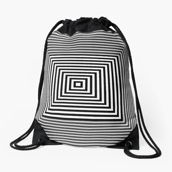 1 point perspective illusion, #Design, #illusion, #abstract, #square, puzzle, illustration, shape, art Drawstring Bag