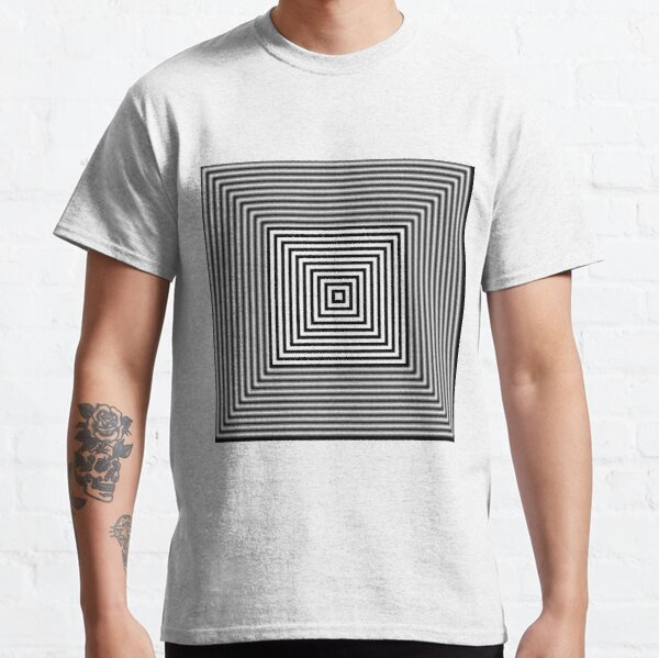 1 point perspective illusion, #Design, #illusion, #abstract, #square, puzzle, illustration, shape, art Classic T-Shirt