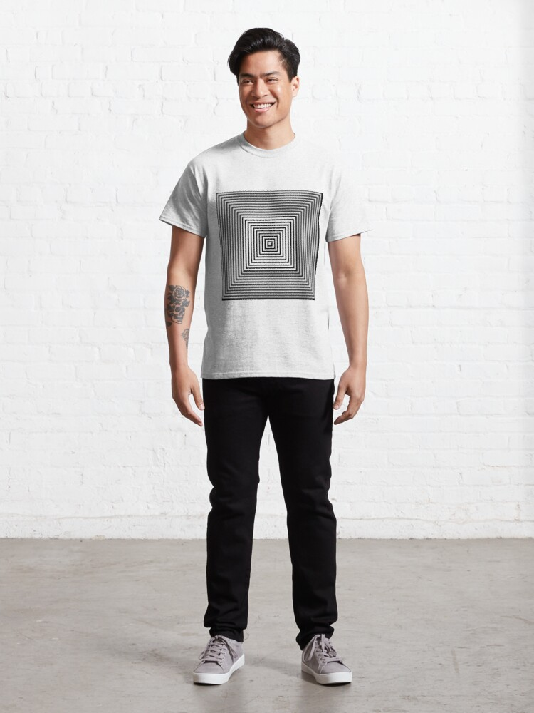 Alternate view of 1 point perspective illusion, #Design, #illusion, #abstract, #square, puzzle, illustration, shape, art Classic T-Shirt