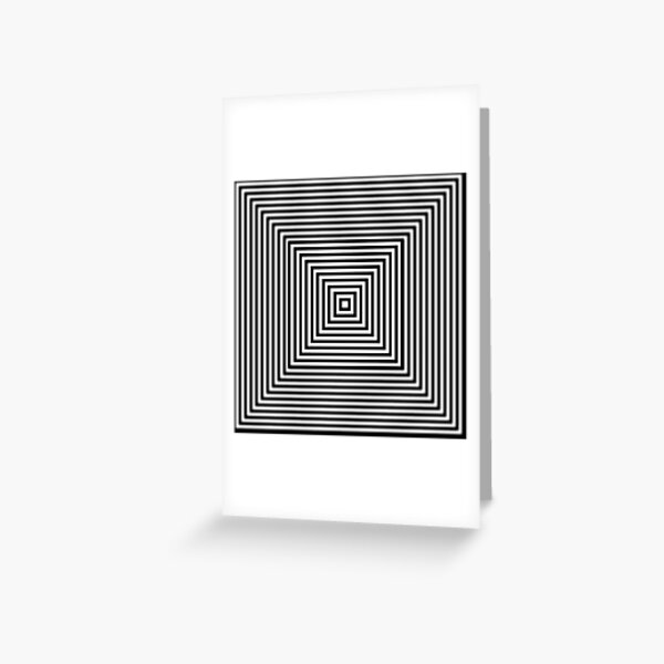 1 point perspective illusion, #Design, #illusion, #abstract, #square, puzzle, illustration, shape, art Greeting Card
