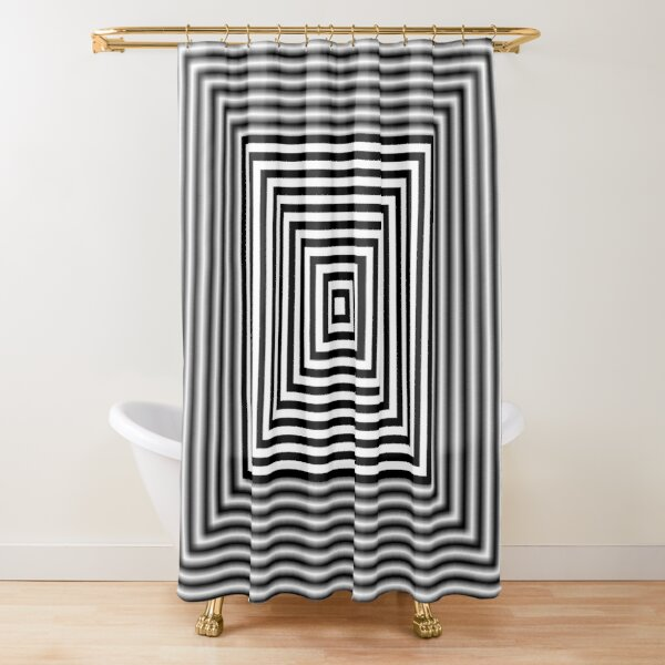 1 point perspective illusion, #Design, #illusion, #abstract, #square, puzzle, illustration, shape, art Shower Curtain