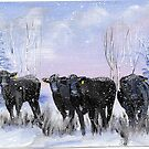 Cattle in the Winter by southshoreart