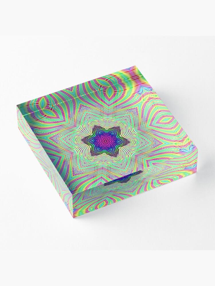 Alternate view of #Abstract, #design, #art, #twist, decoration, illustration, curvy, creativity, shape, psychedelic Acrylic Block