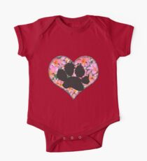 Pawprint in Heart with Pink Flowers Kids Clothes