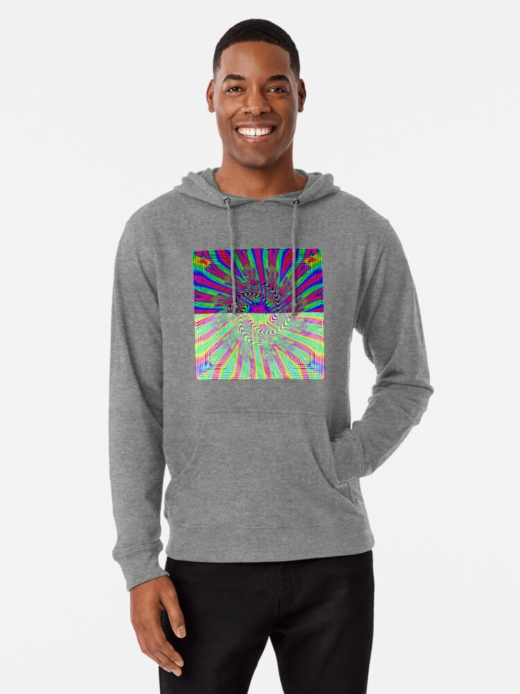 Alternate view of #Pattern, #rainbow, #ornate, #shape, textile, color image, textured, retro style, styles Lightweight Hoodie