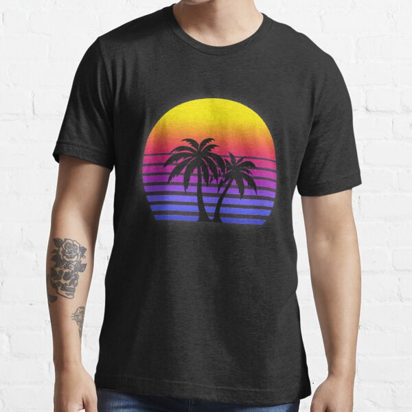 Synthwave Sun Palm Trees Essential T-Shirt
