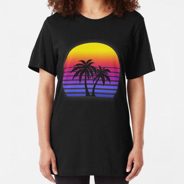 Synthwave Sun Palm Trees Slim Fit T-Shirt