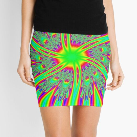 #Decoration, #abstract, #pattern, #rainbow, ornate, shape, textile, color image, textured, retro style, styles Mini Skirt