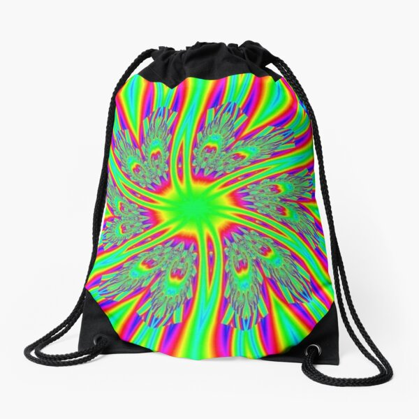 #Decoration, #abstract, #pattern, #rainbow, ornate, shape, textile, color image, textured, retro style, styles Drawstring Bag
