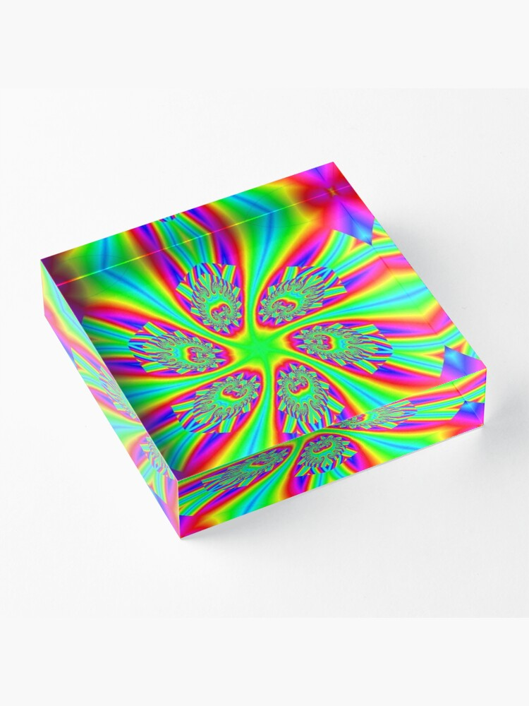 Alternate view of #Rainbow, #ornate, #shape, #textile, color image, textured, retro style, styles Acrylic Block