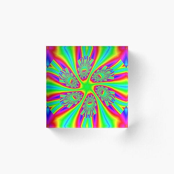 #Rainbow, #ornate, #shape, #textile, color image, textured, retro style, styles Acrylic Block