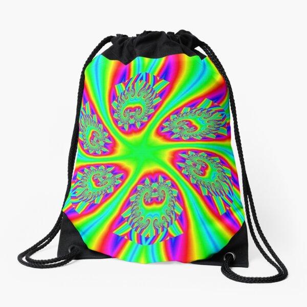 #Rainbow, #ornate, #shape, #textile, color image, textured, retro style, styles Drawstring Bag