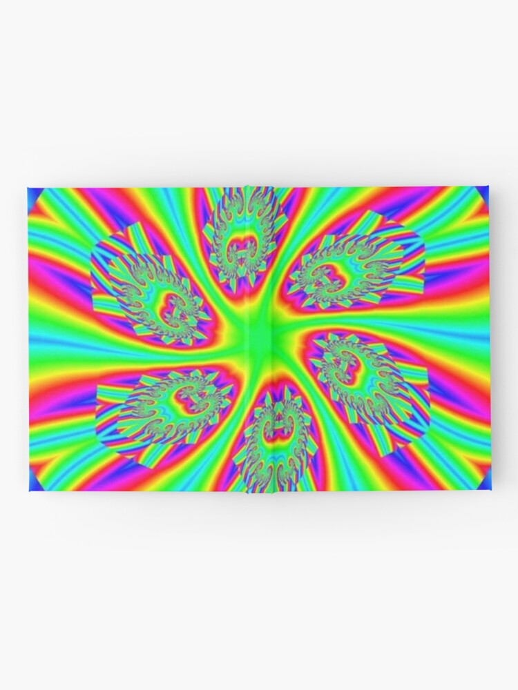 Alternate view of #Rainbow, #ornate, #shape, #textile, color image, textured, retro style, styles Hardcover Journal