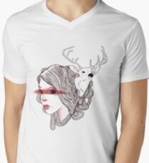 deer girl Men's V-Neck T-Shirt