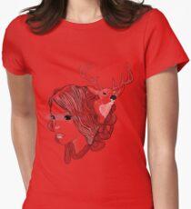 deer girl Womens Fitted T-Shirt