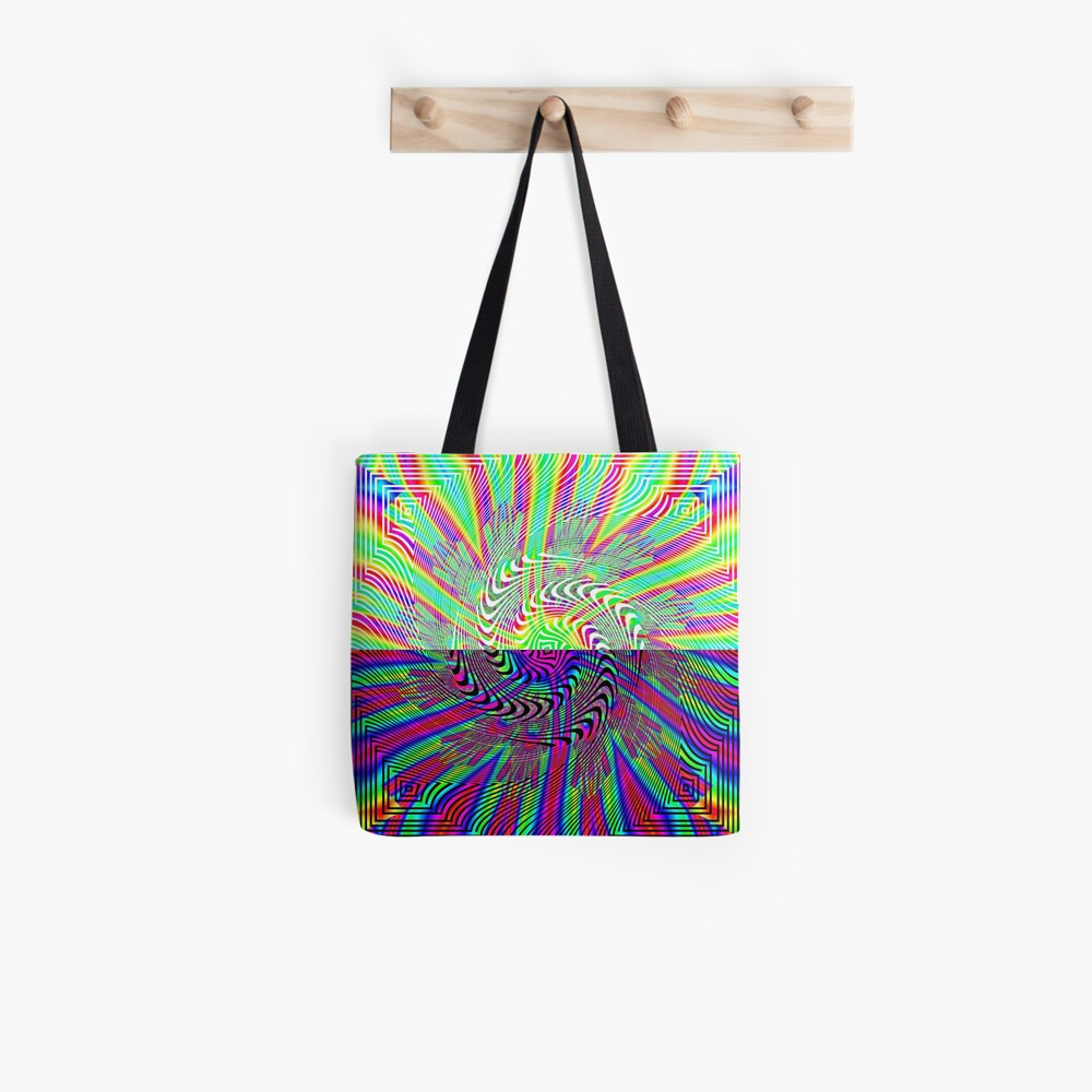 #Abstract, #pattern, #rainbow, #ornate, shape, textile, color image, textured, retro style, styles Tote Bag