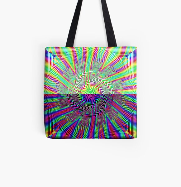 #Abstract, #pattern, #rainbow, #ornate, shape, textile, color image, textured, retro style, styles All Over Print Tote Bag