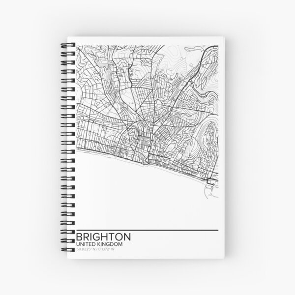 Brighton map poster print wall art, United Kingdom gift printable, Home and Nursery, Modern map decor for office, Map Art, Map Gifts Spiral Notebook
