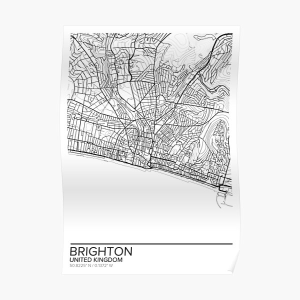 Brighton map poster print wall art, United Kingdom gift printable, Home and Nursery, Modern map decor for office, Map Art, Map Gifts Poster
