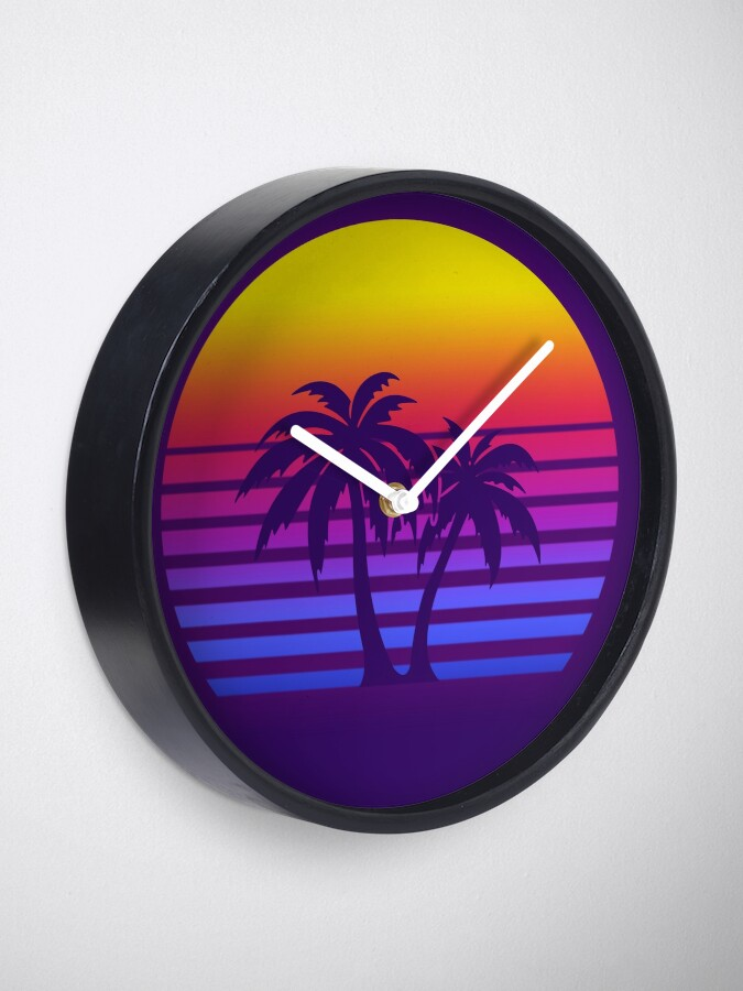 Alternate view of Synthwave Sun Palm Trees Clock