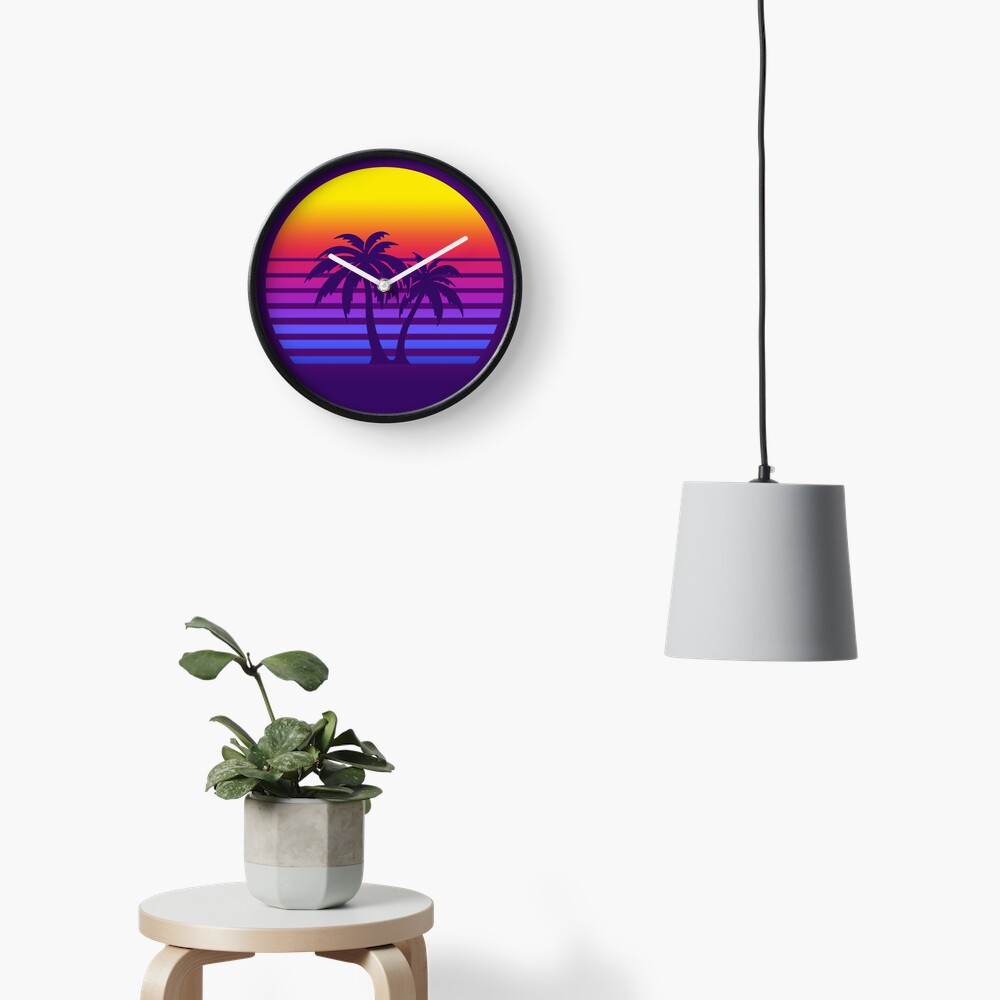 Synthwave Sun Palm Trees Clock