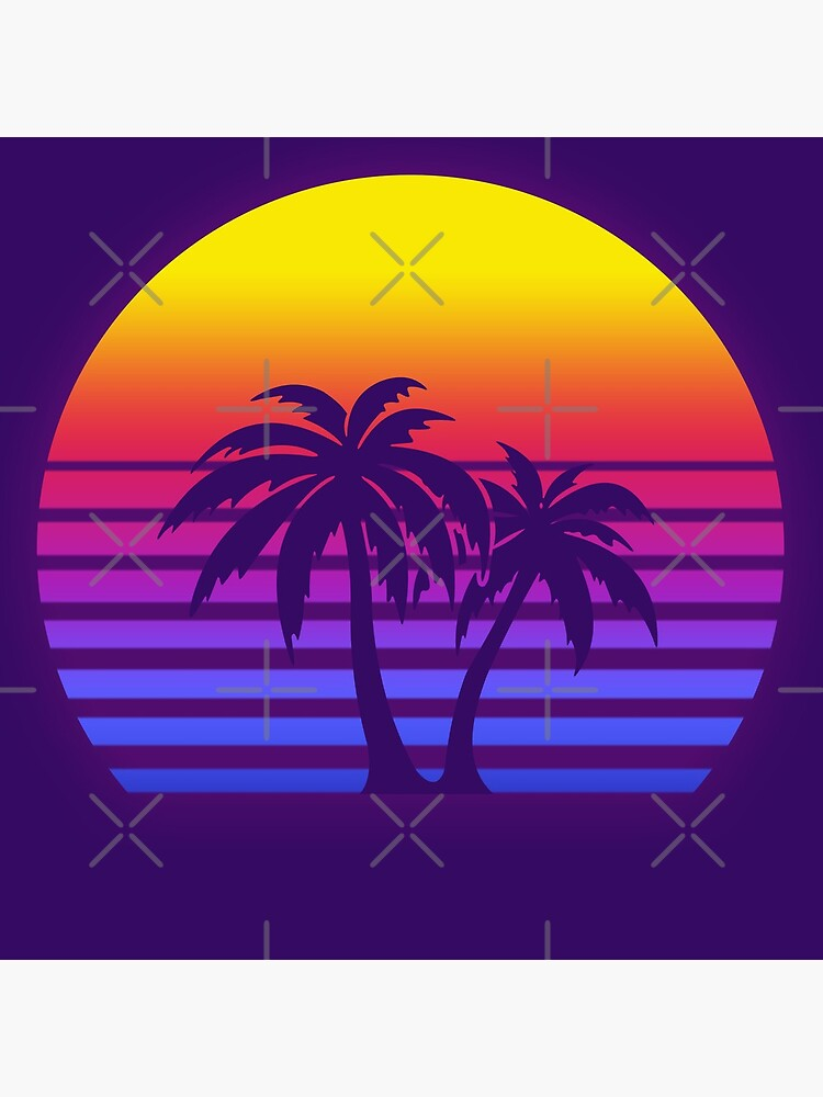 Synthwave Sun Palm Trees by christopper