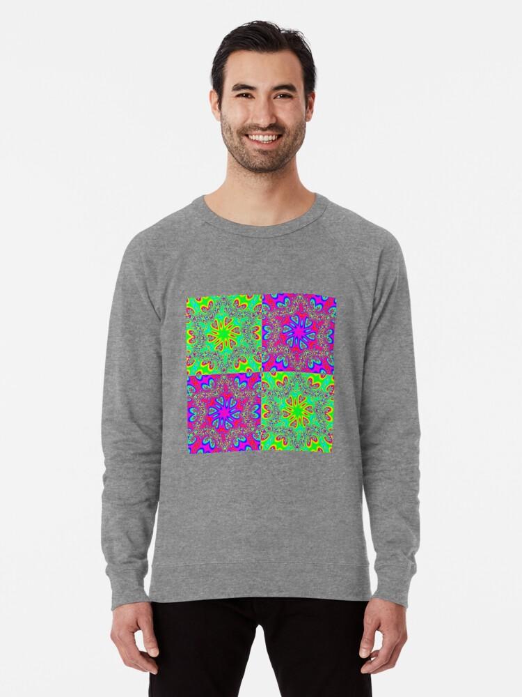 Alternate view of #Abstract, #pattern, #design, #rainbow, ornate, shape, textile Lightweight Sweatshirt