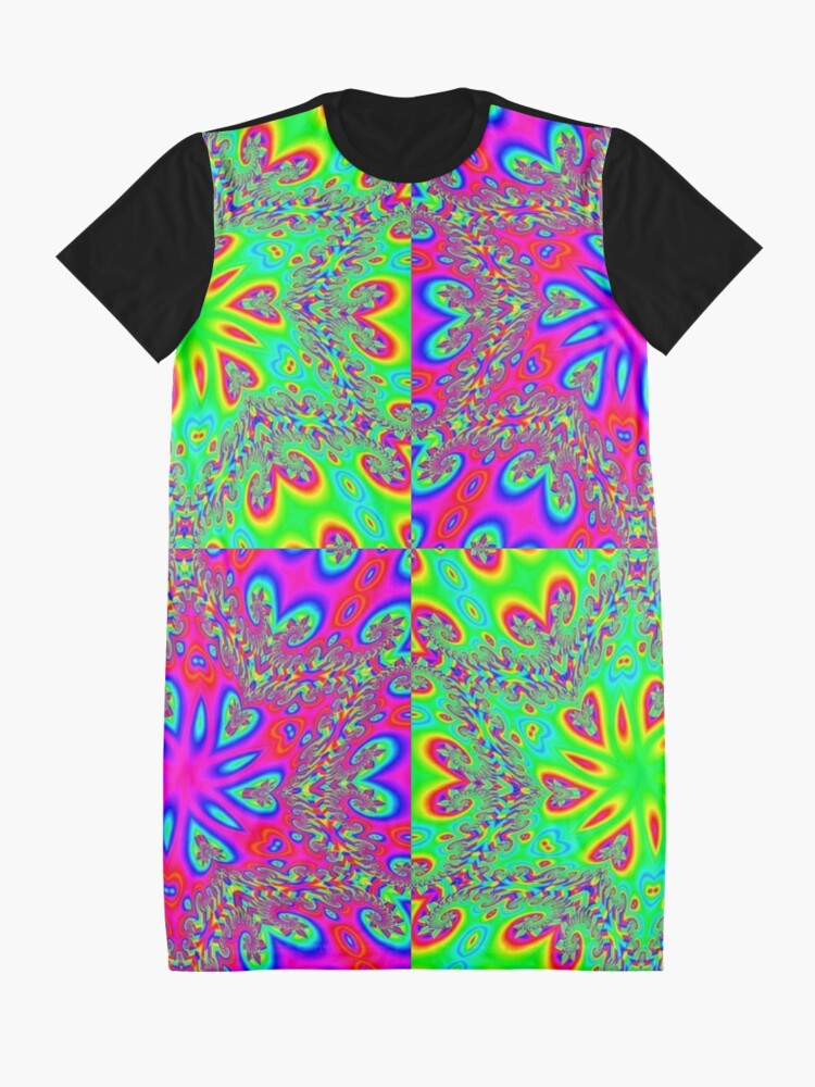 Alternate view of #Illustration, #abstract, #pattern, #design, vector, rainbow, ornate, shape, textile Graphic T-Shirt Dress