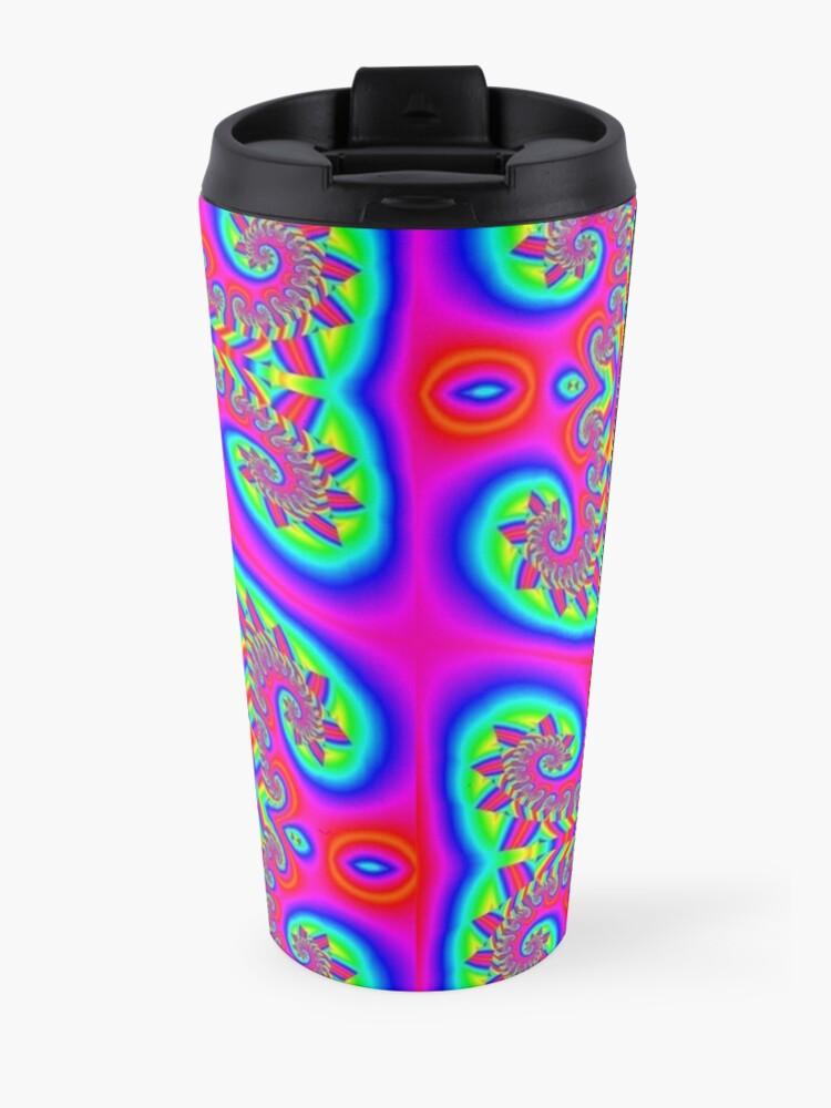 Alternate view of #Decoration, #art, #illustration, #abstract, design, pattern, vector, rainbow, ornate, shape, textile Travel Mug