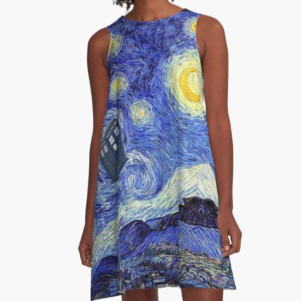 Starry Night Inspiration Tardis Time Machine A-Line Dress