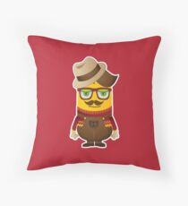 Hipster Minion Throw Pillow