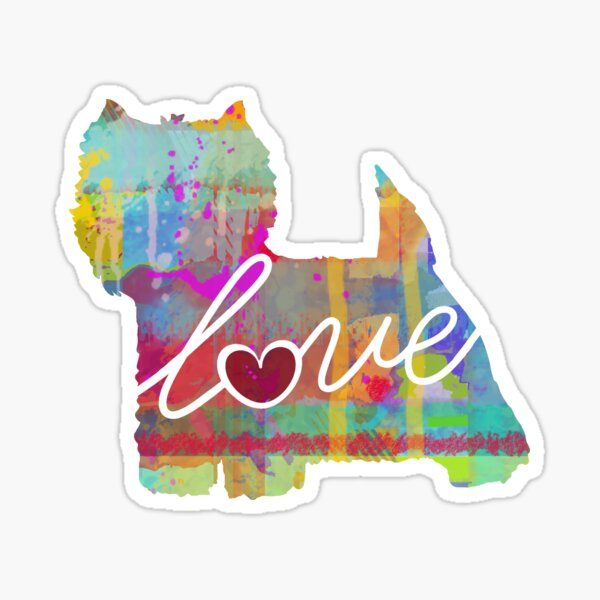 West Highland Terrier Love - A Bright and Colorful Watercolor Style Gift Sticker