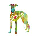 Whippet Love - A Bright and Colorful Watercolor Style Gift by traciwithani