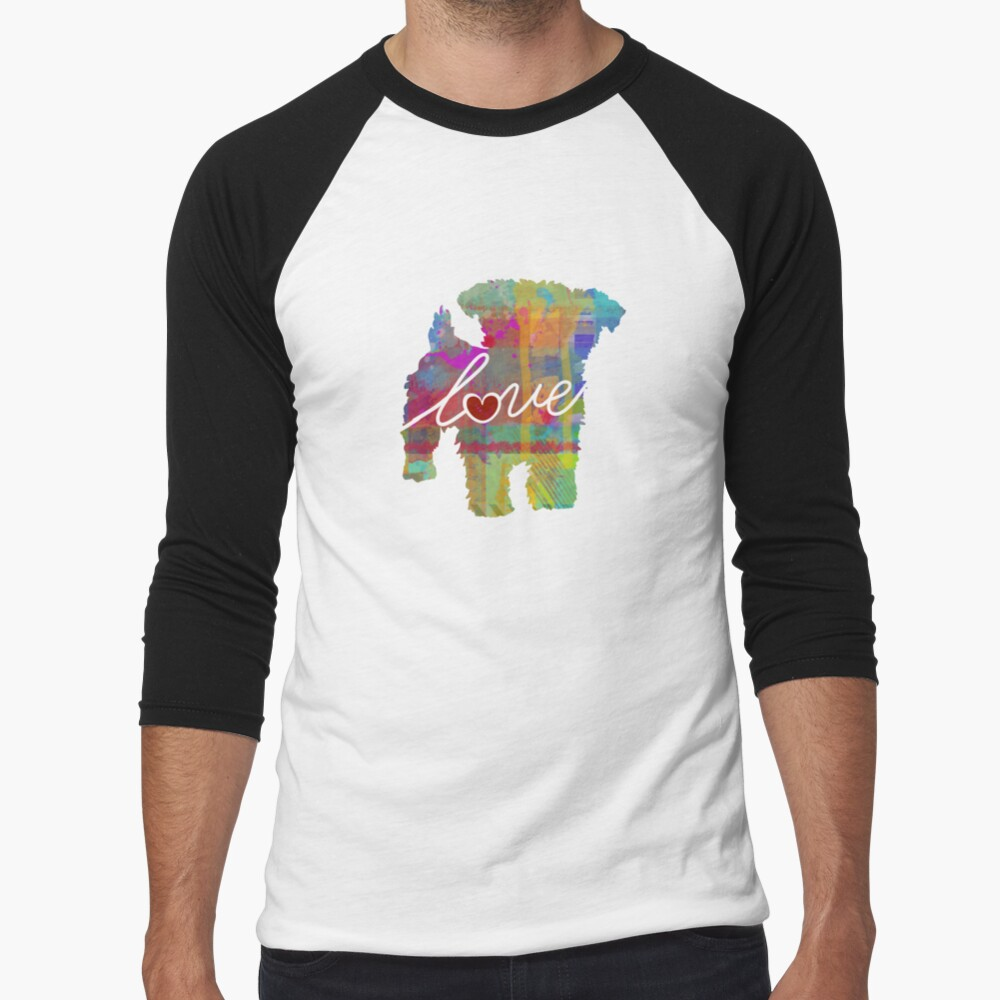 Yorkiepoo Love - A Bright and Colorful Watercolor Style Gift Baseball ¾ Sleeve T-Shirt