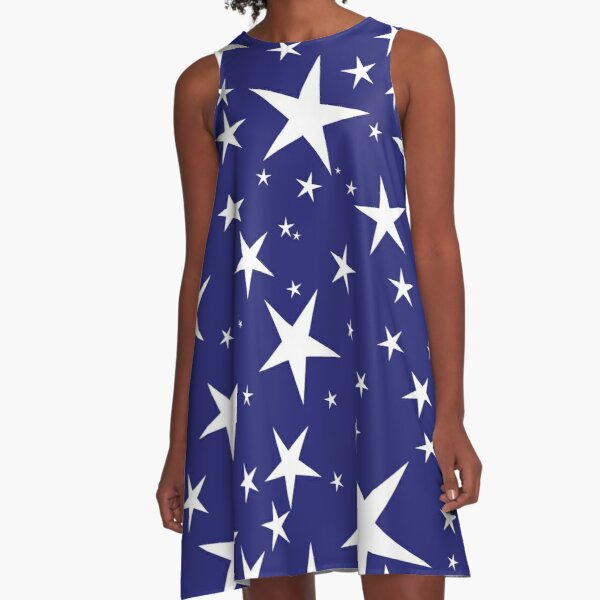 NDVH Stars (white on blue) A-Line Dress