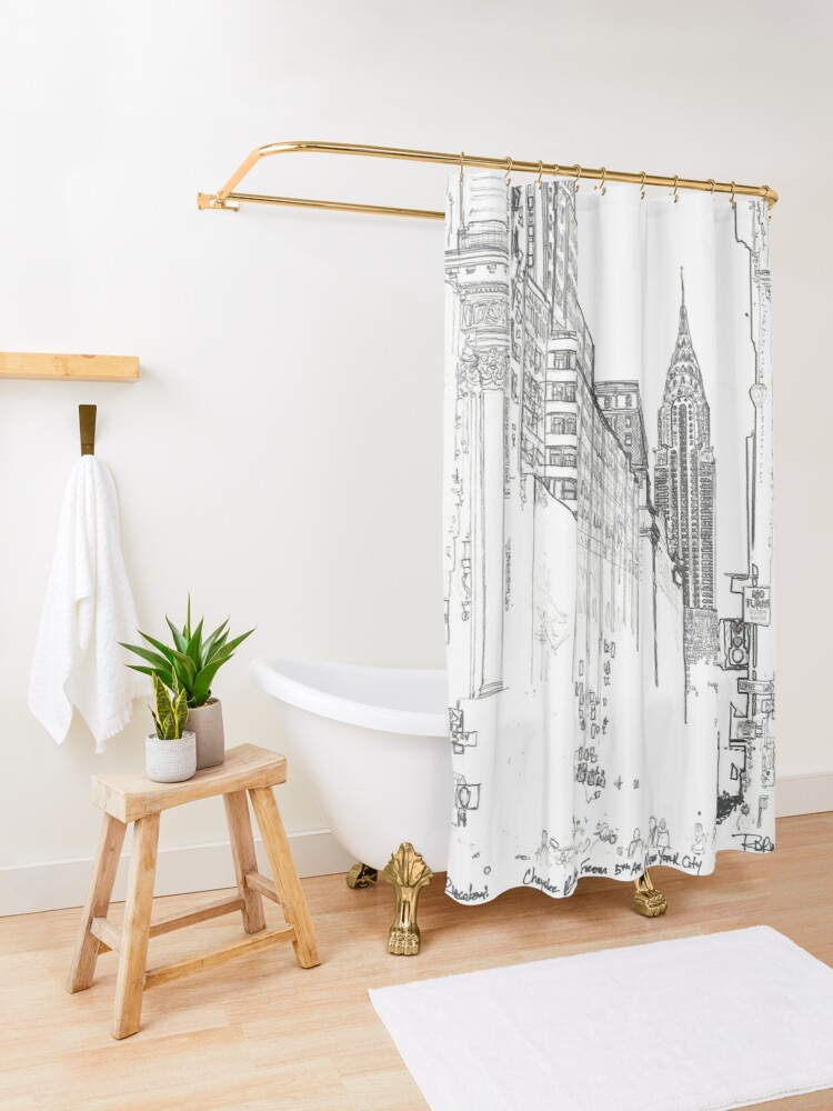 Alternate view of New York City Chrysler Building street picture Shower Curtain