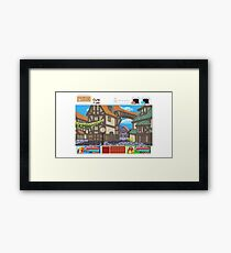 Town View - Cute Monsters RPG - Pixel Art Framed Print