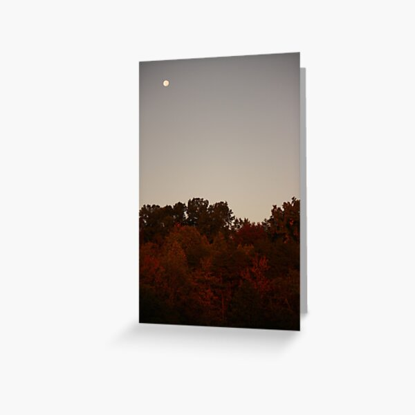 Autumn Moon at Sunrise Greeting Card