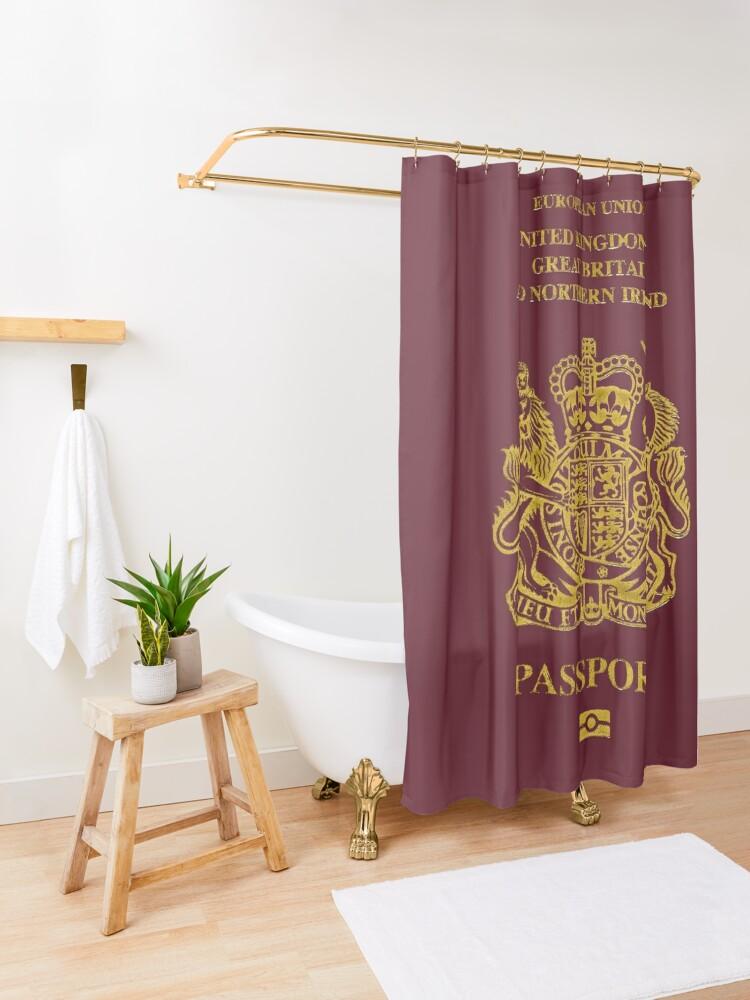 Alternate view of NDVH EU UK Passport Shower Curtain