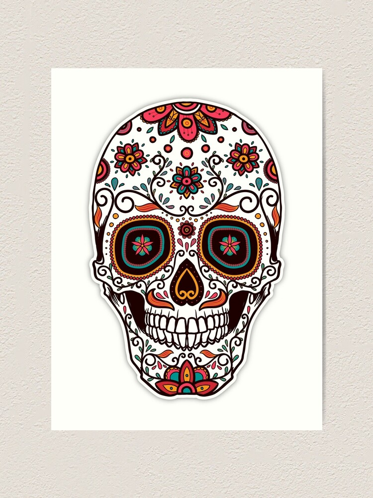 Day Of The Dead Mexican Sugar Skull Art Print By Twosided Redbubble