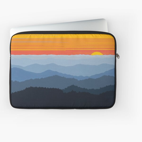 """Bright Blue Ridge Sunset Panorama Laptop Sleeve"