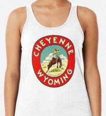Cheyenne Wyoming Frontier Days Vintage Travel Decal Racerback Tank Top
